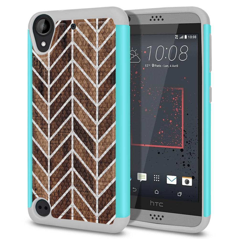 HTC Desire 530 630 Hybrid Football Skin Wood Chevron Protector Cover Case