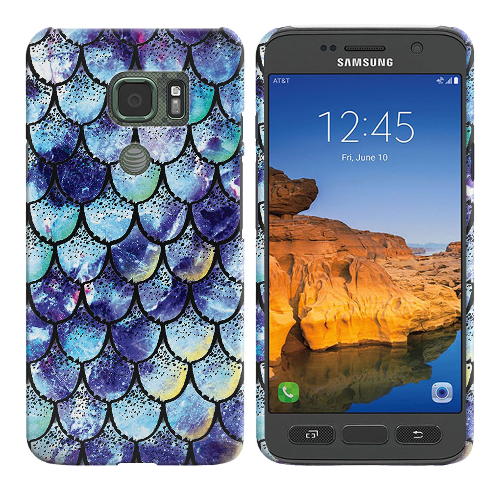 Samsung Galaxy S7 Active G891 Purple Mermaid Scales Back Cover Case