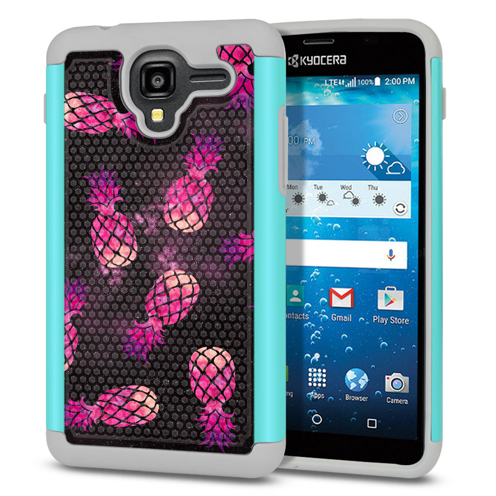 Kyocera Hydro View C6742-Kyocera Hydro Reach C6743-Kyocera Hydro Shore Hybrid Football Skin Hot Pink Pineapple Pattern In Galaxy Protector Cover Case