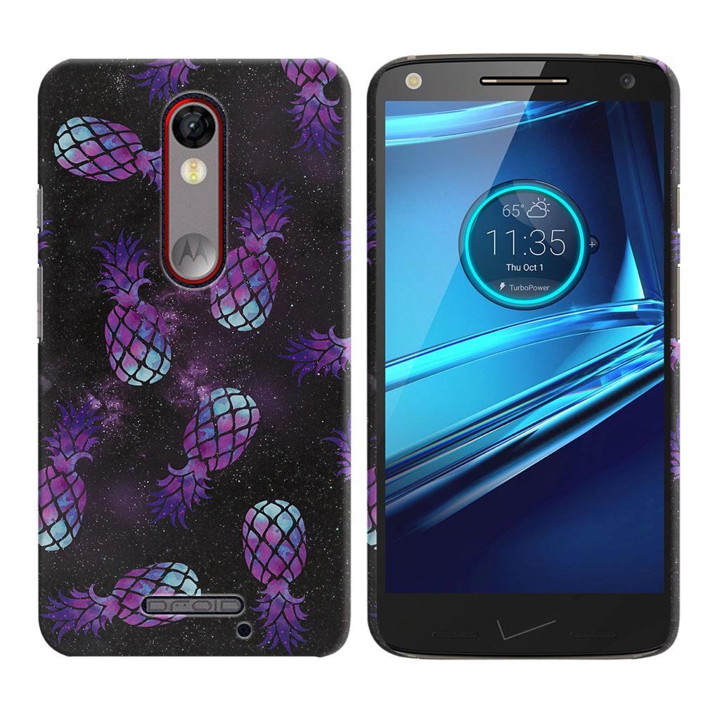 Motorola Droid Turbo 2 Kinzie XT1585-Motorola Moto X Force XT1580 Purple Pineapples Galaxy Back Cover Case