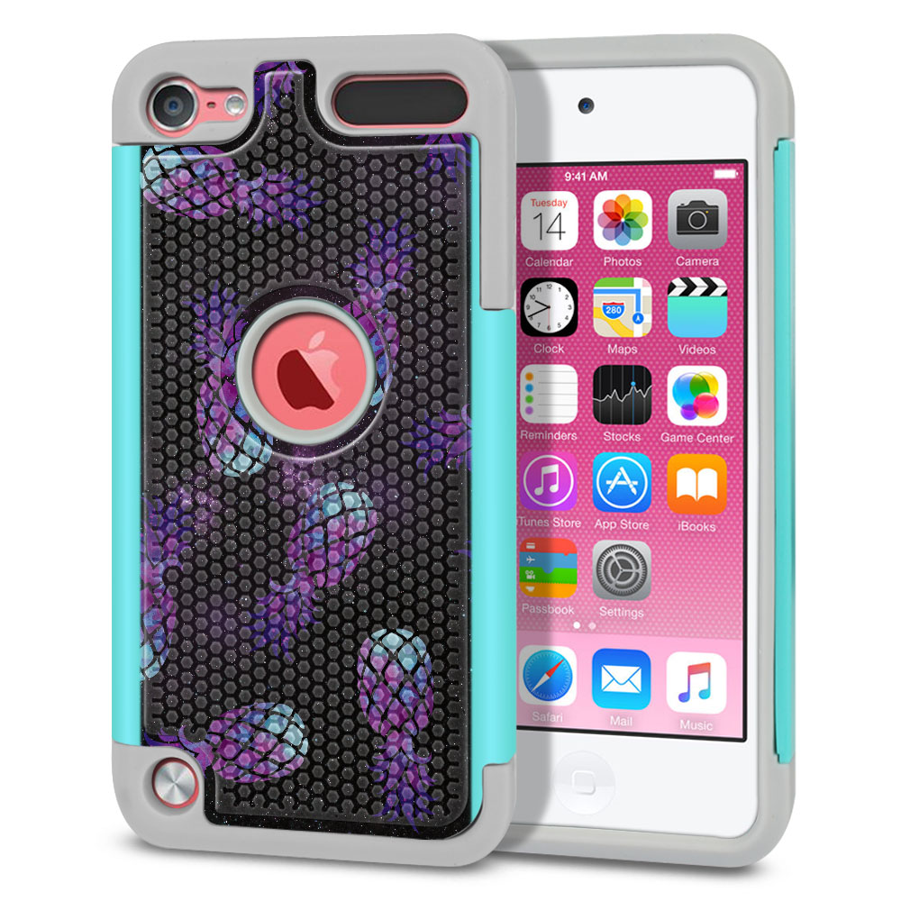 Apple iPod Touch 5 (5th Generation)-Apple iPod Touch 6 (6th Generation) Hybrid Football Skin Purple Pineapples Galaxy Protector Cover Case