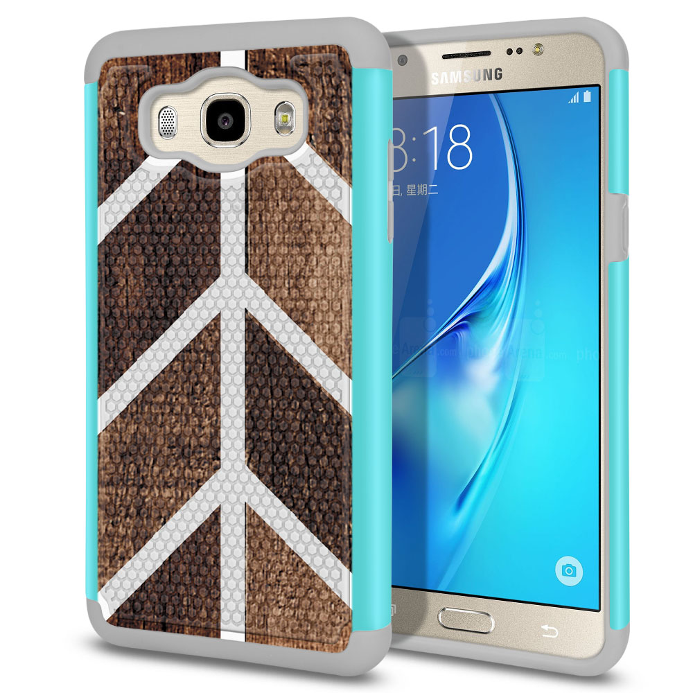 Samsung Galaxy J7 J710 2nd Gen 2016 Hybrid Football Skin Wood Chevron Protector Cover Case