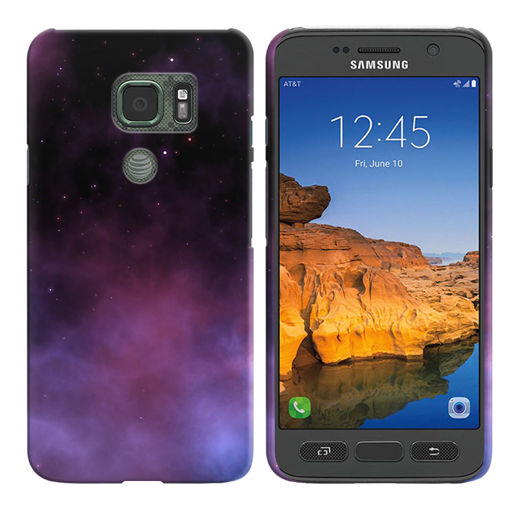 Samsung Galaxy S7 Active G891 Purple Space Stars Back Cover Case