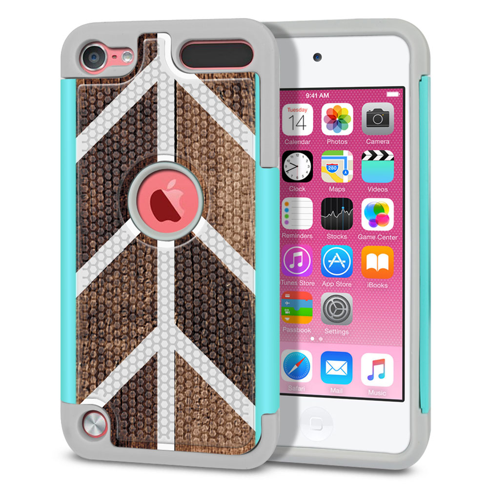 Apple iPod Touch 5 (5th Generation)-Apple iPod Touch 6 (6th Generation) Hybrid Football Skin Wood Chevron Protector Cover Case