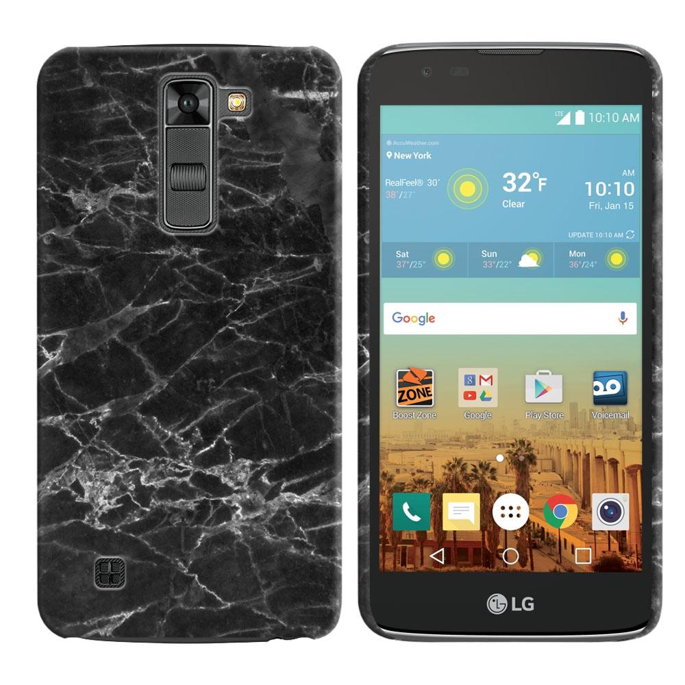 LG K7 Tribute 5 LS675 MS330-LG M1-LG Treasure L51AL L51VL L52AL L52VL Black Stone Marble Back Cover Case