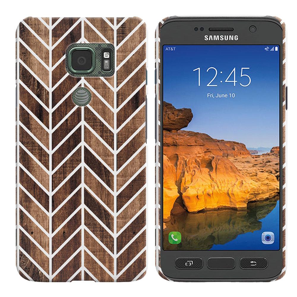 Samsung Galaxy S7 Active G891 Modern Chevron Wood Back Cover Case