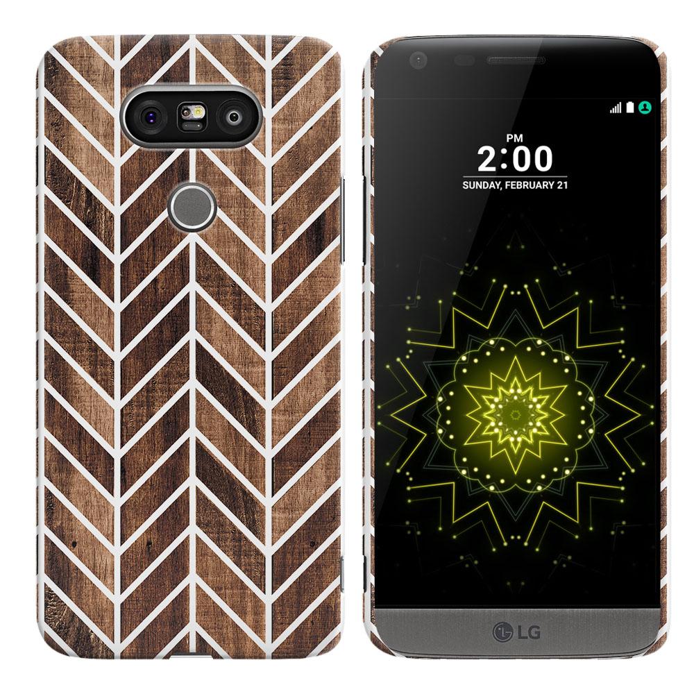 LG G5 H850 VS987 Modern Chevron Wood Back Cover Case