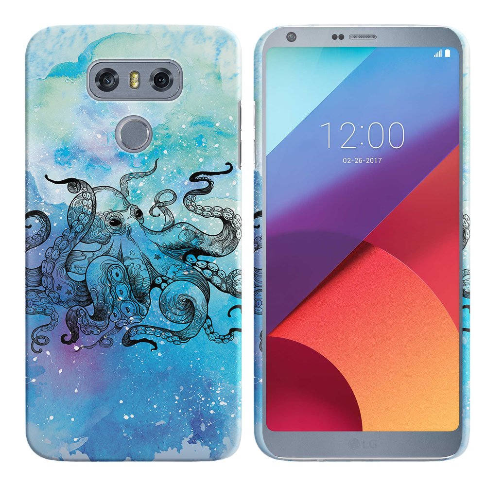 LG G6 H870-H871-H872-H873-US997-LS993-VS998-AS993-G6  Plus US997 Blue Water Octopus Blue BG Back Cover Case