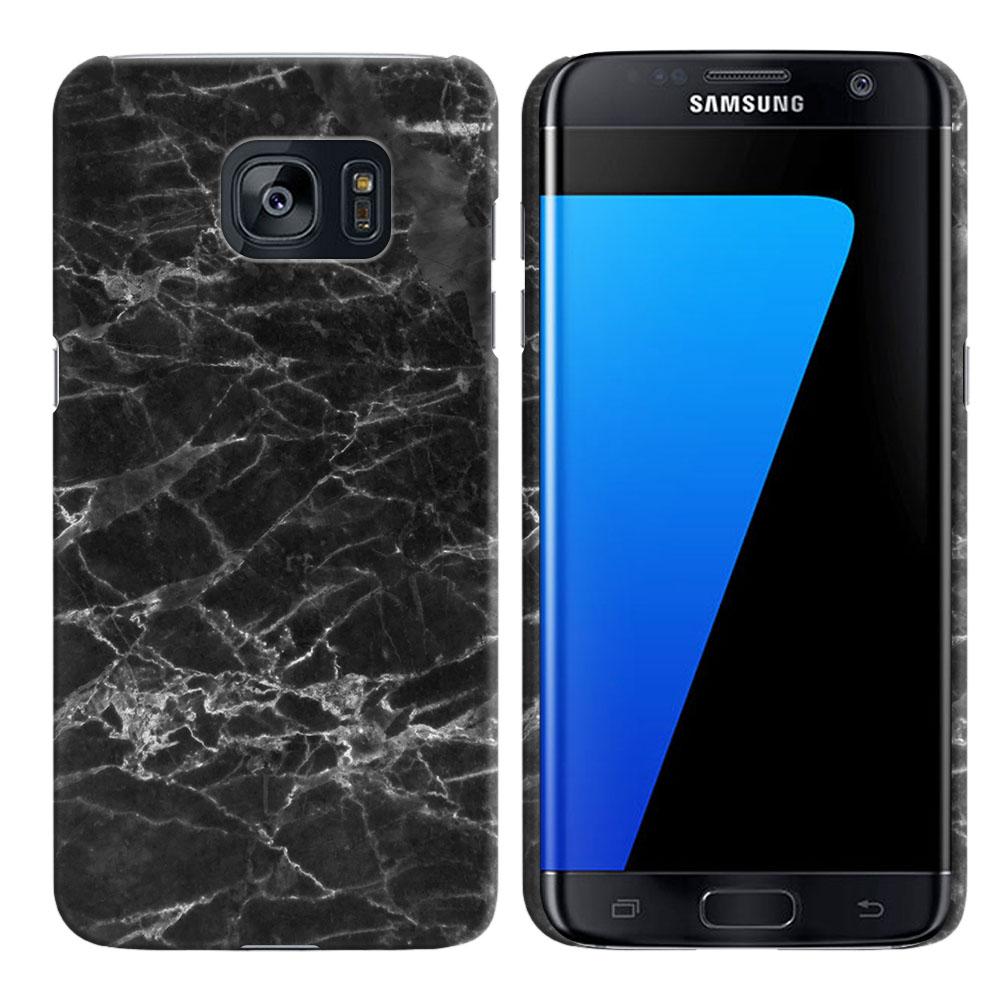 Samsung Galaxy S7 Edge G935 Black Stone Marble Back Cover Case