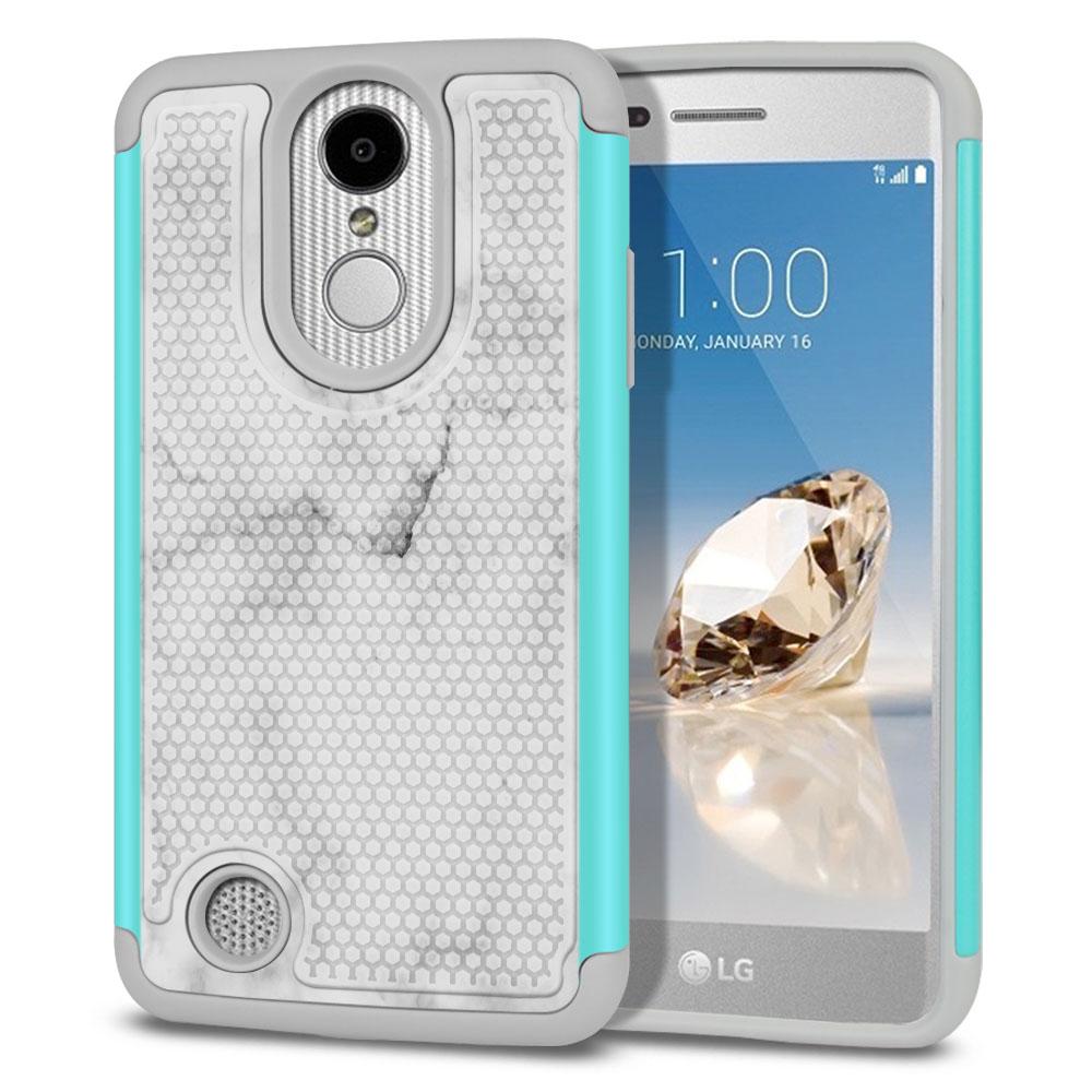 LG Aristo MS210 LV3-LG K8 (2017)-LG Phoenix 3 M150-LG Fortune Hybrid Football Skin Grey Cloudy Marble Protector Cover Case