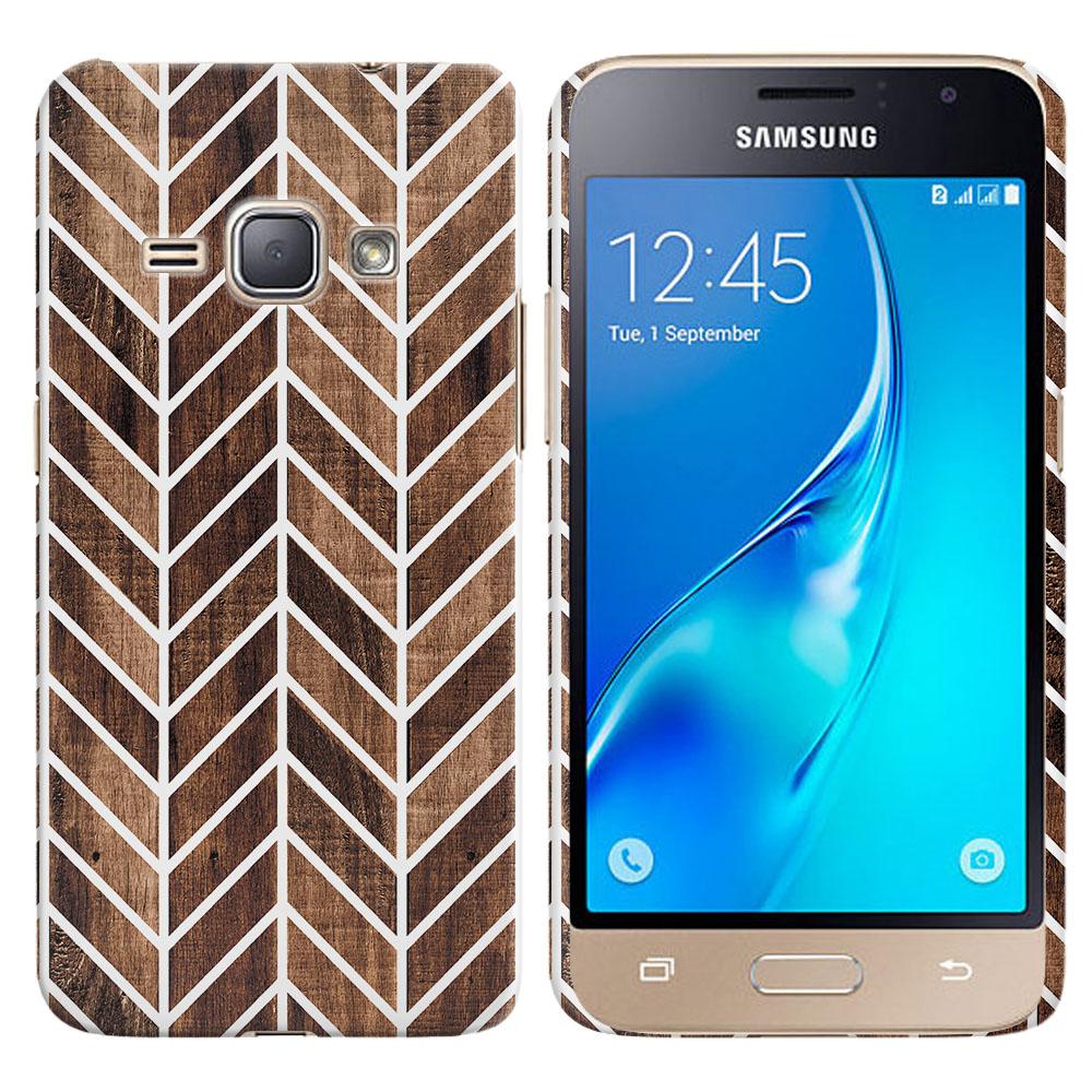Samsung Galaxy J1 J120 2nd Gen 2016-Samsung Galaxy AMP 2 2nd Gen 2016-Samsung Galaxy Express 3-Samsung Galaxy Luna S120 Modern Chevron Wood Back Cover Case