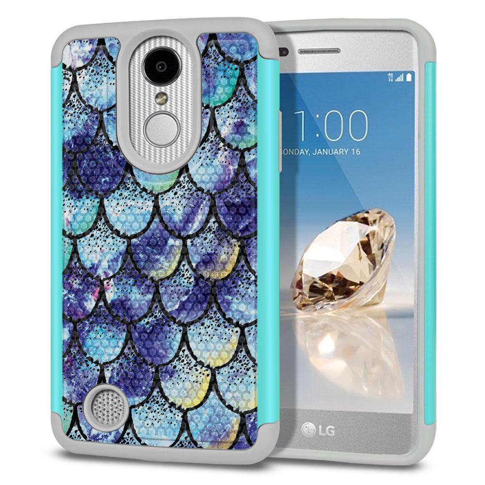 LG Aristo MS210 LV3-LG K8 (2017)-LG Phoenix 3 M150-LG Fortune Hybrid Football Skin Purple Mermaid Scales Protector Cover Case