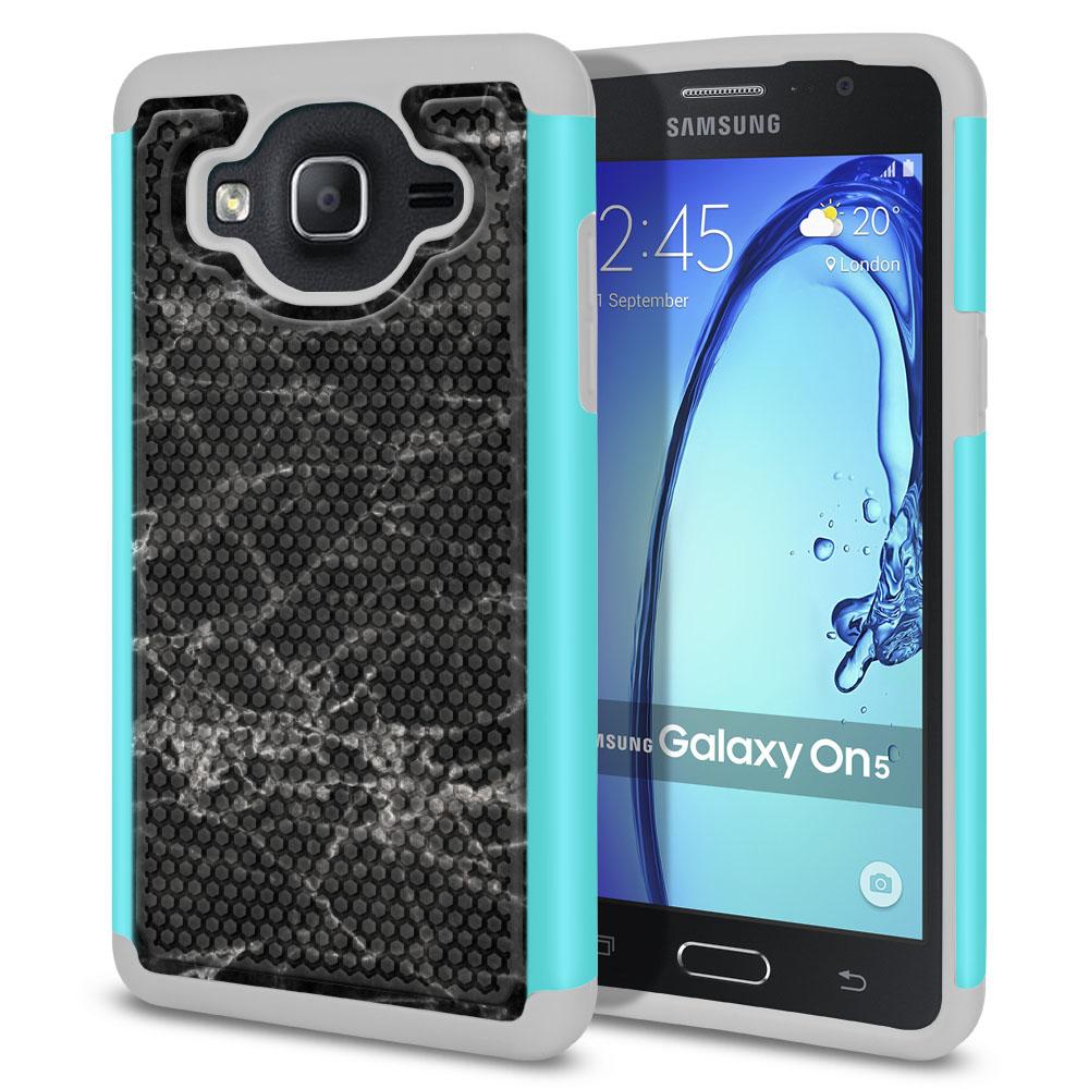 Samsung Galaxy On5 G500-Samsung Galaxy On5 G550 Hybrid Football Skin Black Stone Marble Protector Cover Case
