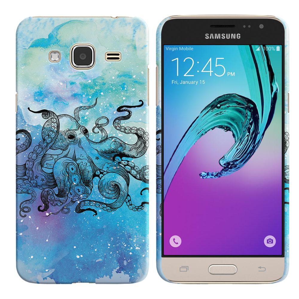 Samsung Galaxy J3 J310 J320 (Not fit for J3 Emerge J327 2017, J3 Pro 2017) Blue Water Octopus Back Cover Case