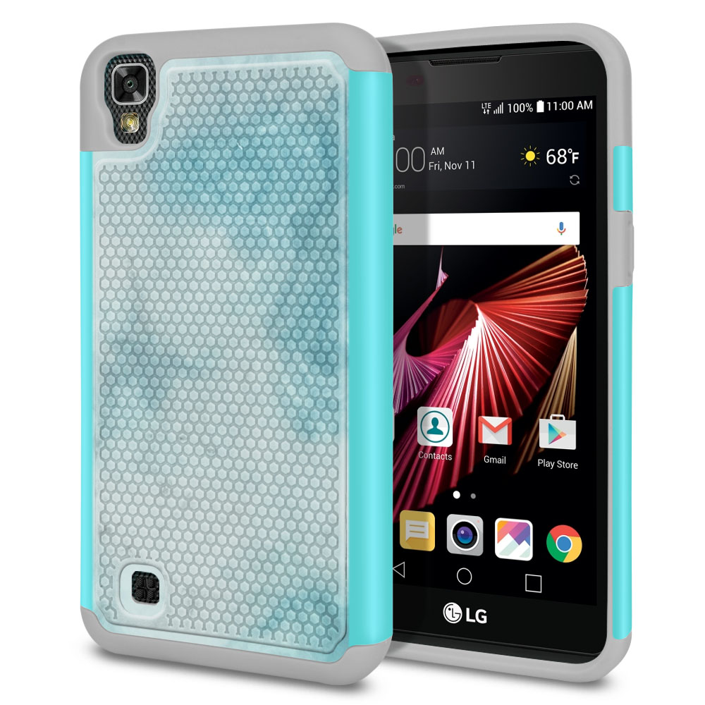 LG X Power K6 K6P-LG K450 K210 K220-LG US610-LG LS755 Hybrid Football Skin Blue Cloudy Marble Protector Cover Case