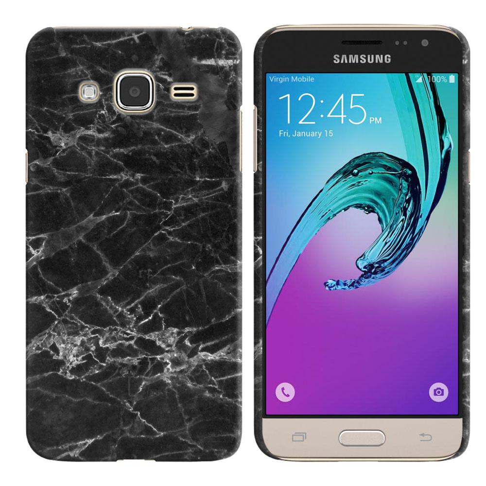 Samsung Galaxy J3 J310 J320 (Not fit for J3 Emerge J327 2017, J3 Pro 2017) Black Stone Marble Back Cover Case