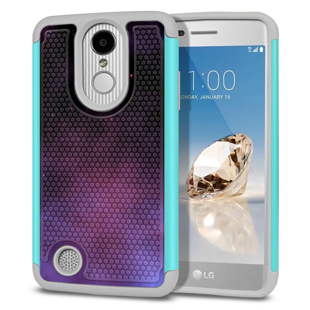 LG Aristo MS210 LV3-LG K8 (2017)-LG Phoenix 3 M150-LG Fortune Hybrid Football Skin Purple Space Stars Protector Cover Case