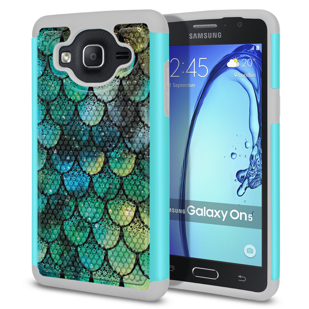 Samsung Galaxy On5 G500-Samsung Galaxy On5 G550 Hybrid Football Skin Green Mermaid Scales Protector Cover Case