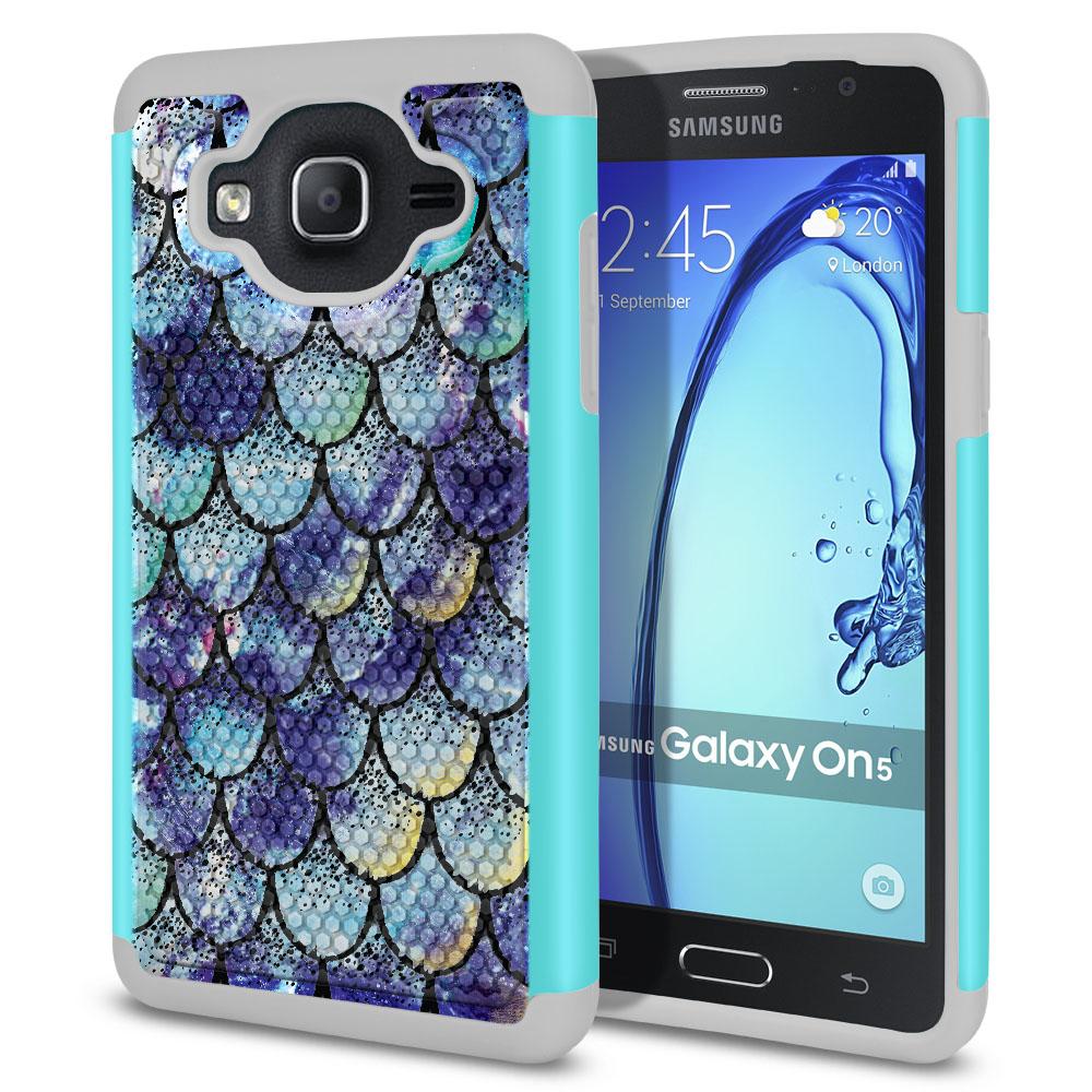 Samsung Galaxy On5 G500-Samsung Galaxy On5 G550 Hybrid Football Skin Purple Mermaid Scales Protector Cover Case