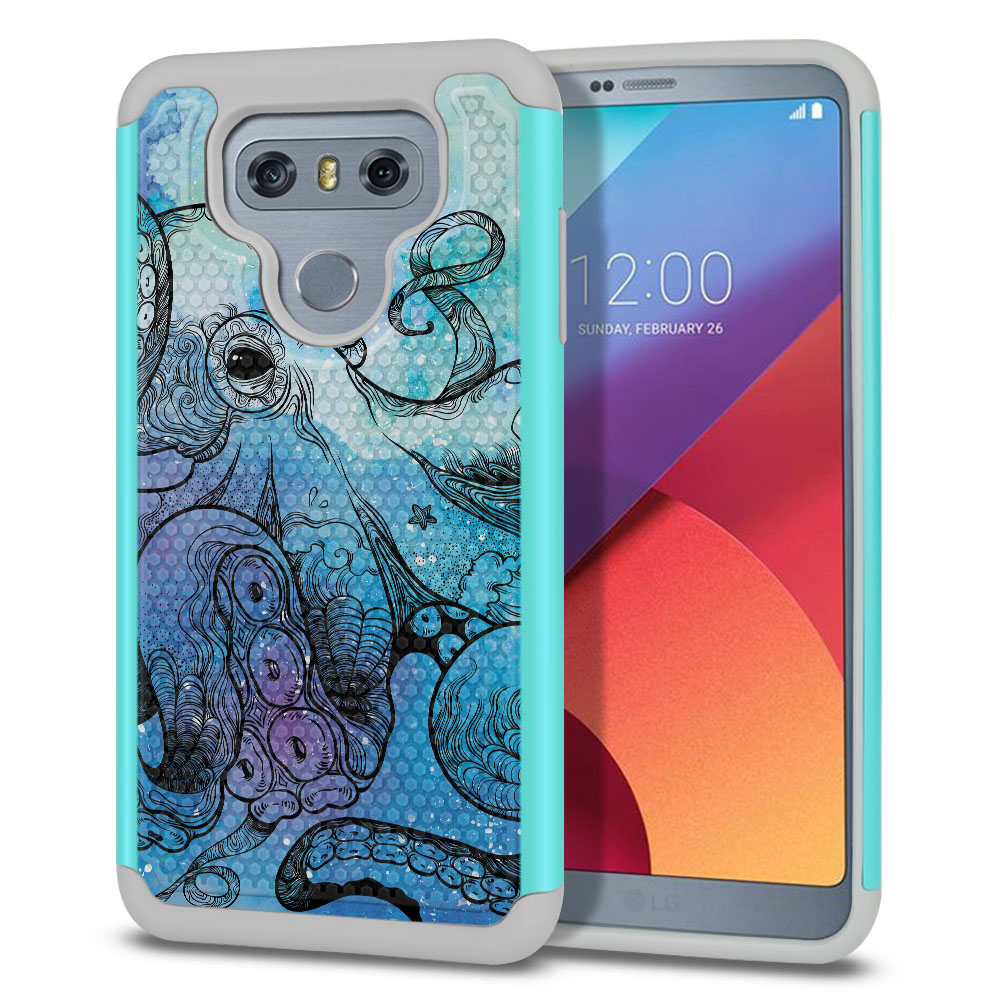 LG G6 H870-H871-H872-H873-US997-LS993-VS998-AS993-G6  Plus US997 Hybrid Football Skin Blue Water Octopus Protector Cover Case
