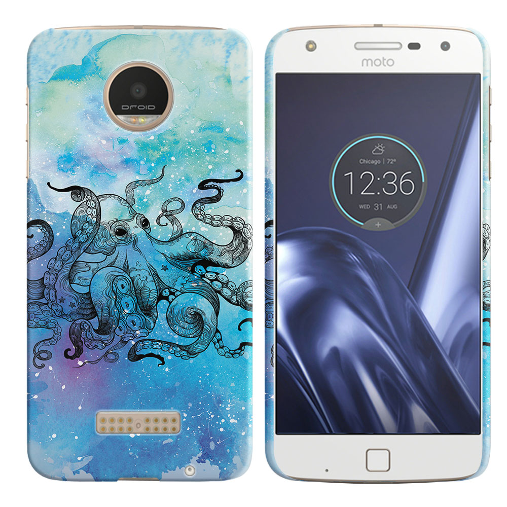 Motorola Moto Z Play Droid XT1635 Blue Water Octopus Blue BG Back Cover Case