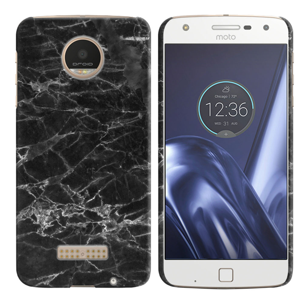 Motorola Moto Z Play Droid XT1635 Black Stone Marble Back Cover Case