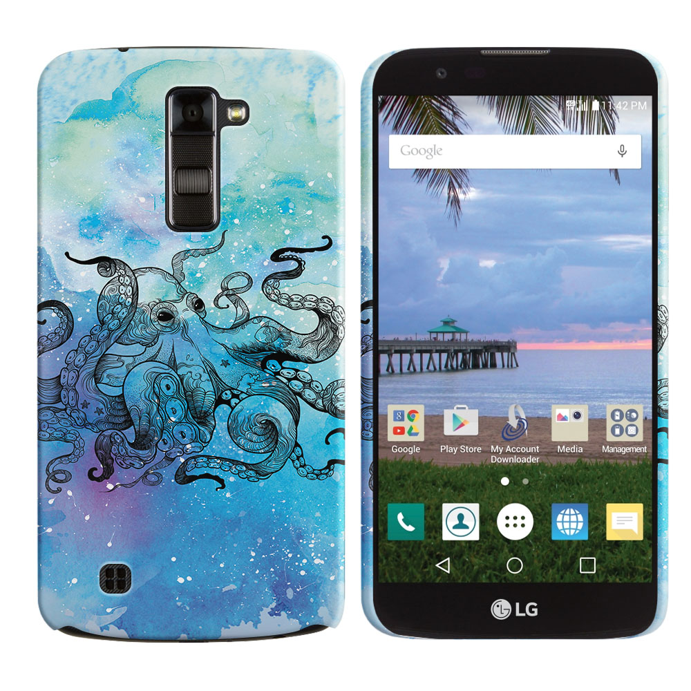 LG K10-LG Premier LTE L62VL L61AL K428 K430 K420 K420N Blue Water Octopus Back Cover Case
