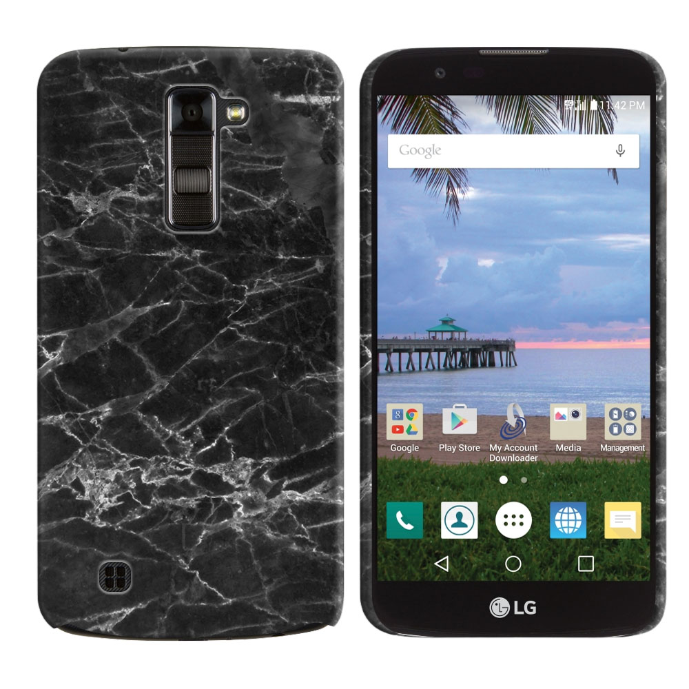 LG K10-LG Premier LTE L62VL L61AL K428 K430 K420 K420N Black Stone Marble Back Cover Case