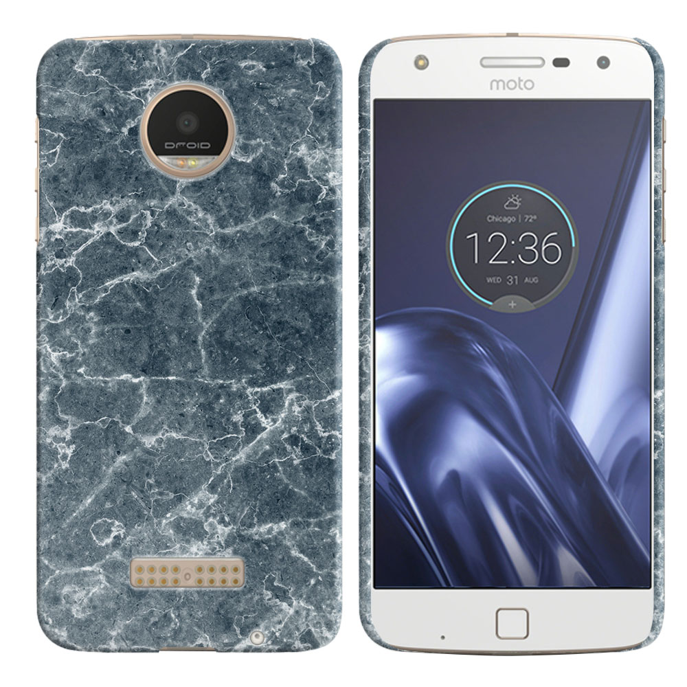 Motorola Moto Z Play Droid XT1635 Blue Stone Marble Back Cover Case