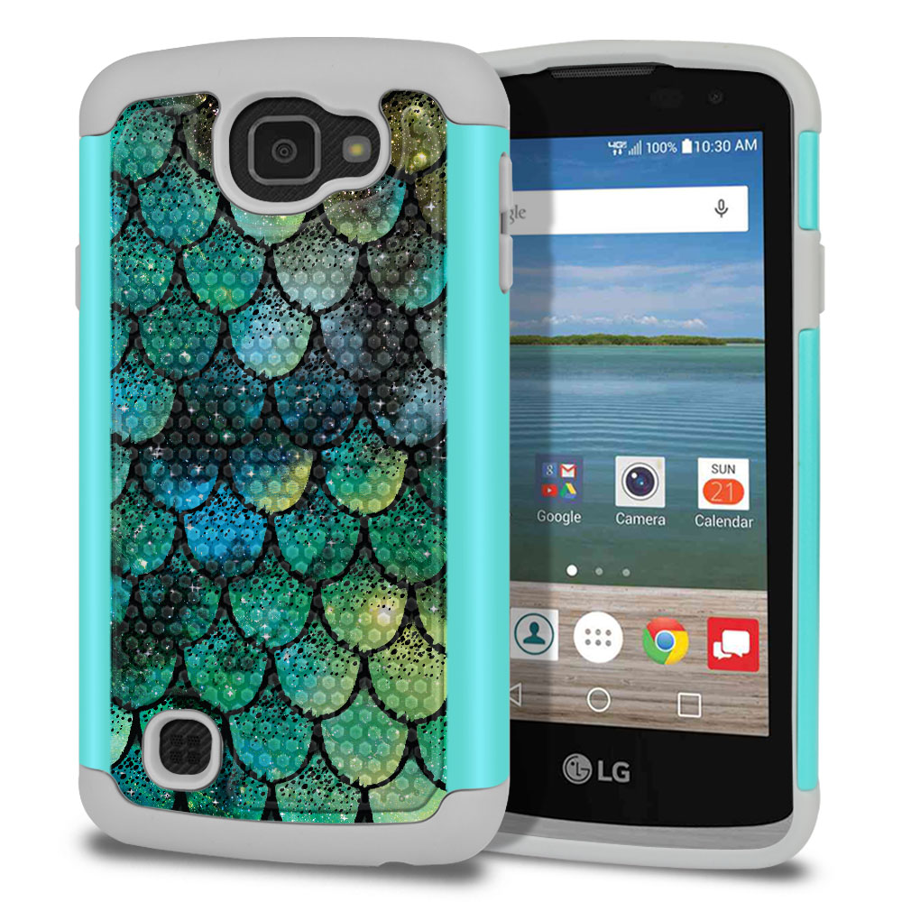 LG Optimus Zone 3 VS425PP-LG Spree K120-LG K4-LG Rebel 4G L44VL L43AL Texture Hybrid Green Mermaid Scales Protector Cover Case