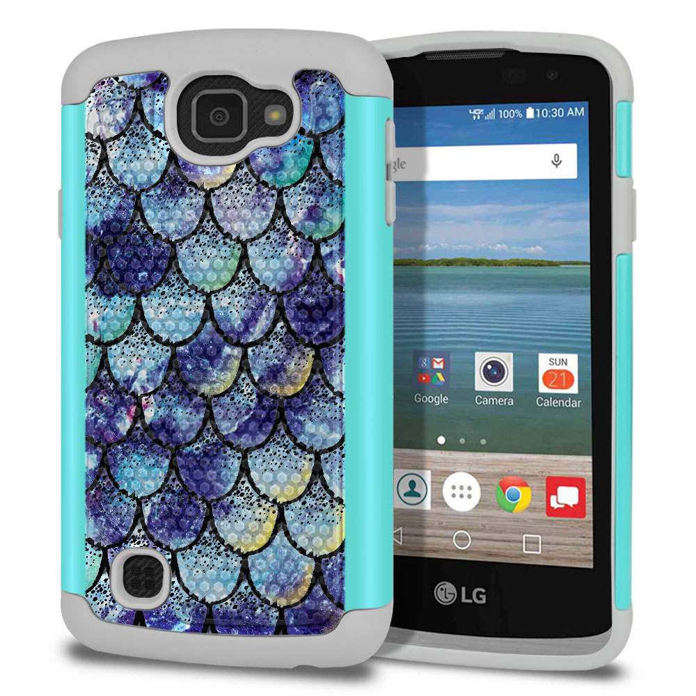 LG Optimus Zone 3 VS425PP-LG Spree K120-LG K4-LG Rebel 4G L44VL L43AL Texture Hybrid Purple Mermaid Scales Protector Cover Case