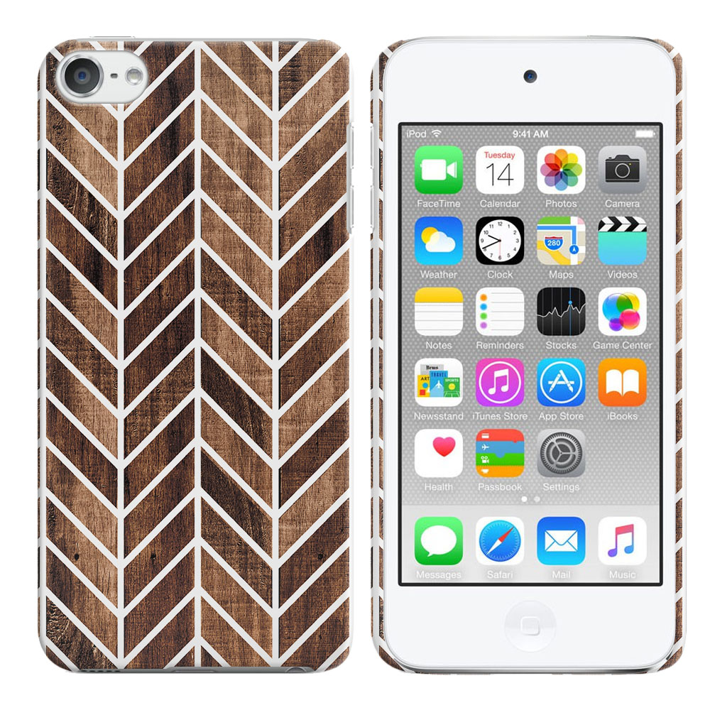 Apple iPod Touch 5 (5th Generation)-Apple iPod Touch 6 (6th Generation) Wood Chevron Back Cover Case