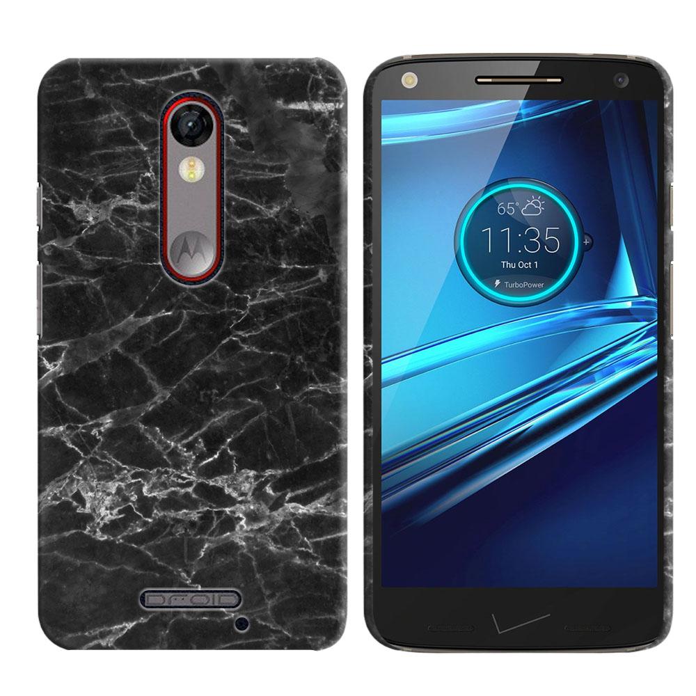 Motorola Droid Turbo 2 Kinzie XT1585-Motorola Moto X Force XT1580 Black Stone Marble Back Cover Case
