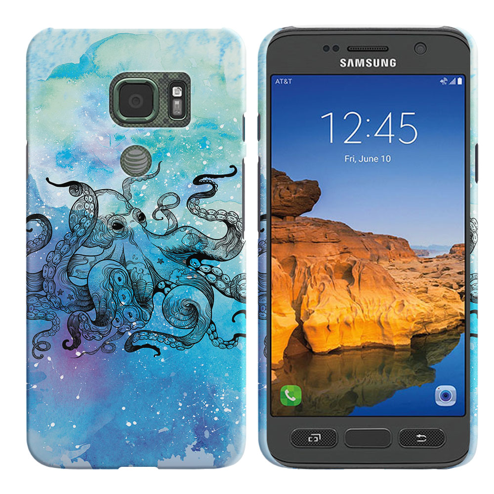 Samsung Galaxy S7 Active G891 Blue Water Octopus Blue BG Back Cover Case