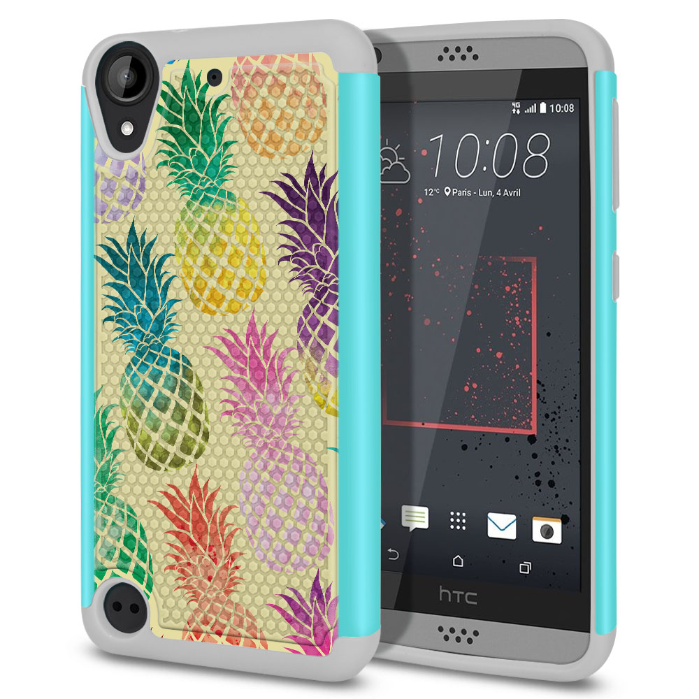 HTC Desire 530 630 Hybrid Football Skin Pastel Colorful Pineapple Yellow Pastel Protector Cover Case