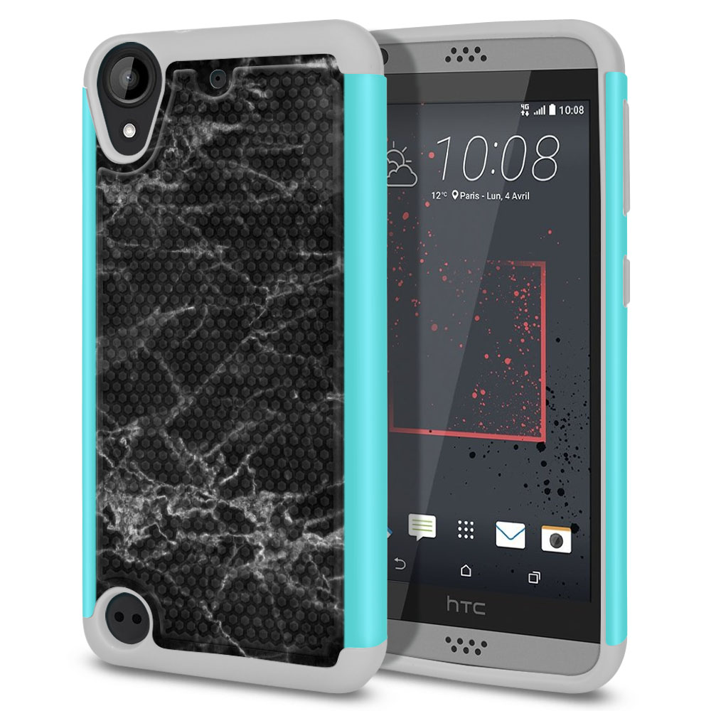 HTC Desire 530 630 Hybrid Football Skin Black Stone Marble Protector Cover Case