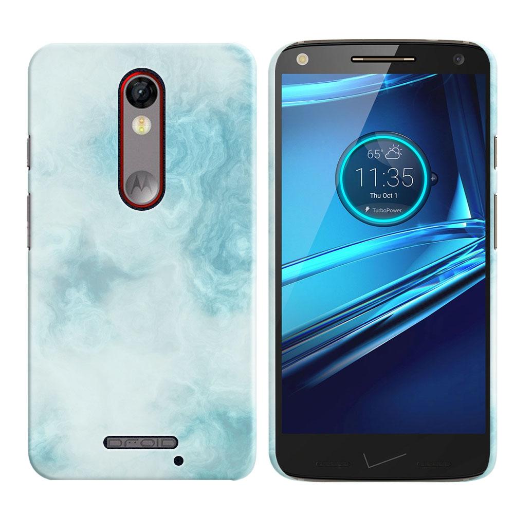 Motorola Droid Turbo 2 Kinzie XT1585-Motorola Moto X Force XT1580 Blue Cloudy Marble Back Cover Case