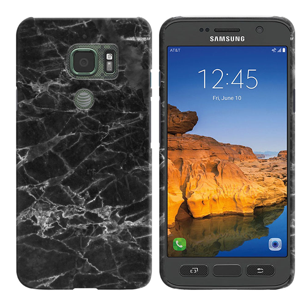 Samsung Galaxy S7 Active G891 Black Stone Marble Back Cover Case