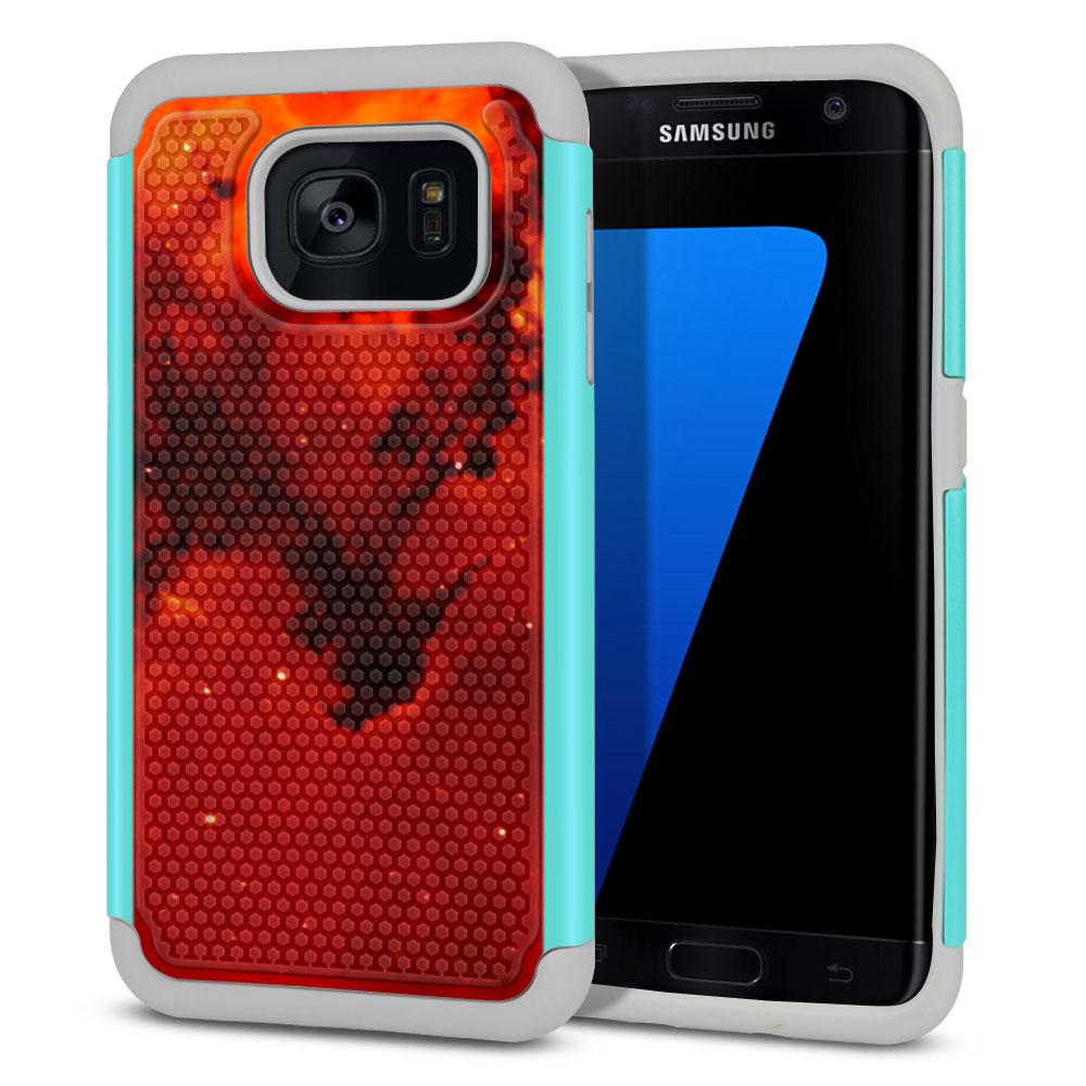 Samsung Galaxy S7 Edge G935 Hybrid Football Skin Fiery Galaxy Protector Cover Case