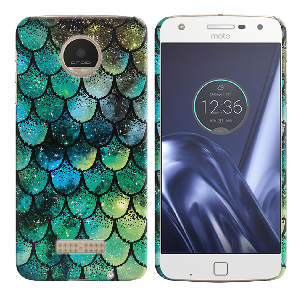 Motorola Moto Z Play Droid XT1635 Green Mermaid Scales Back Cover Case