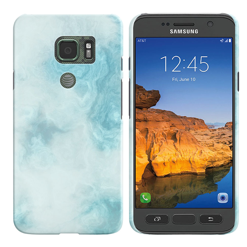 Samsung Galaxy S7 Active G891 Blue Cloudy Marble Back Cover Case