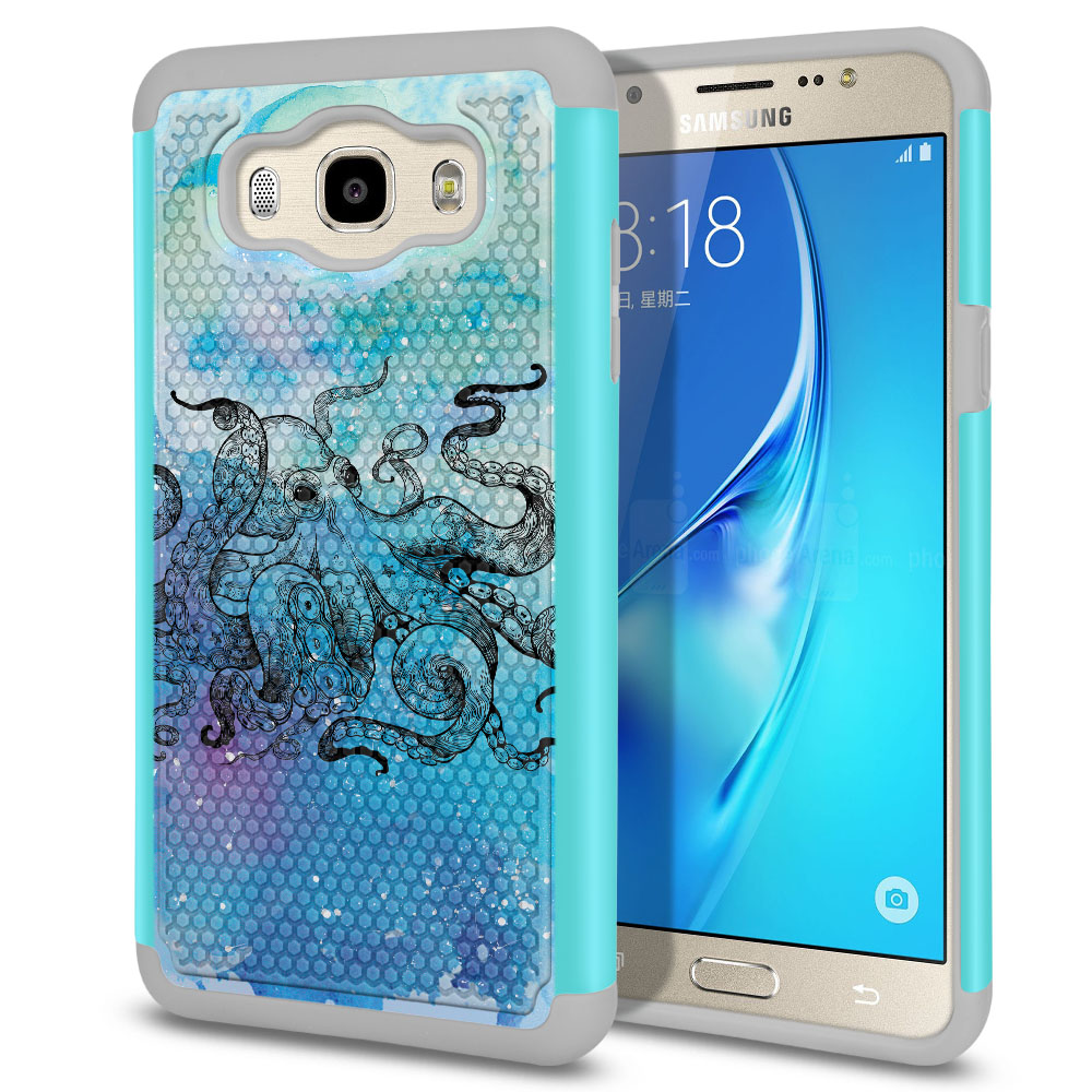 Samsung Galaxy J7 J710 2nd Gen 2016 Hybrid Football Skin Blue Water Octopus Protector Cover Case
