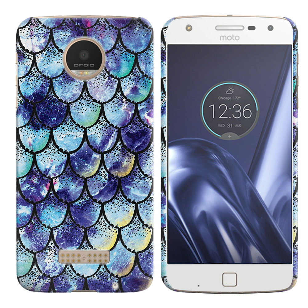 Motorola Moto Z Play Droid XT1635 Purple Mermaid Scales Back Cover Case