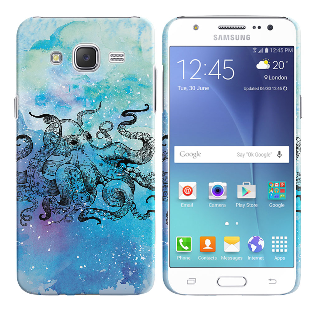 Samsung Galaxy J7 J700 Blue Water Octopus Blue BG Back Cover Case
