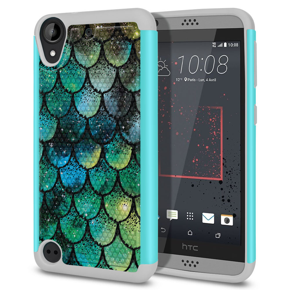 HTC Desire 530 630 Hybrid Football Skin Green Mermaid Scales Protector Cover Case