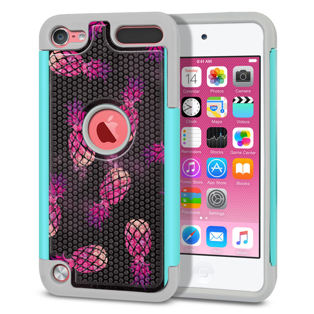 Apple iPod Touch 5 (5th Generation)-Apple iPod Touch 6 (6th Generation) Hybrid Football Skin Hot Pink Pineapple Pattern In Galaxy Protector Cover Case