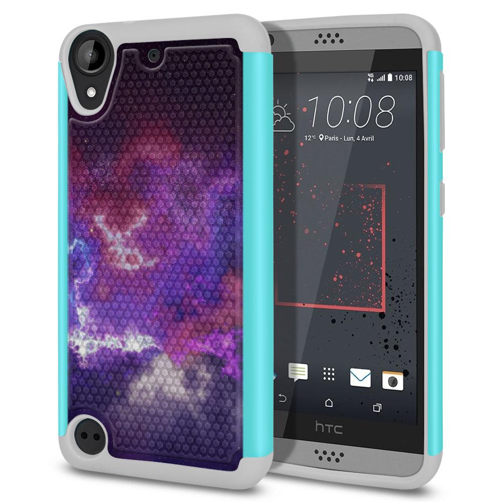 HTC Desire 530 630 Hybrid Football Skin Purple Nebula Space Protector Cover Case
