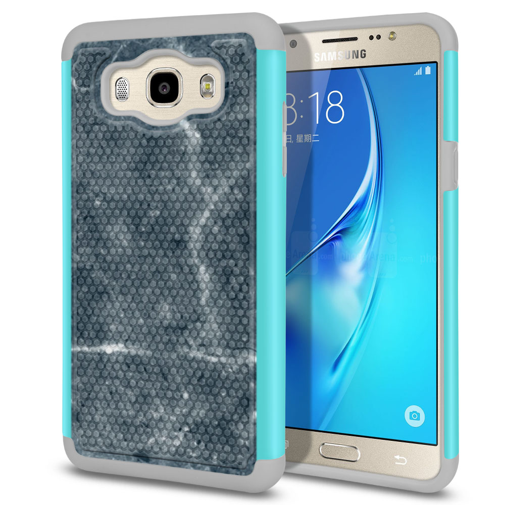 Samsung Galaxy J7 J710 2nd Gen 2016 Hybrid Football Skin Blue Stone Marble Protector Cover Case