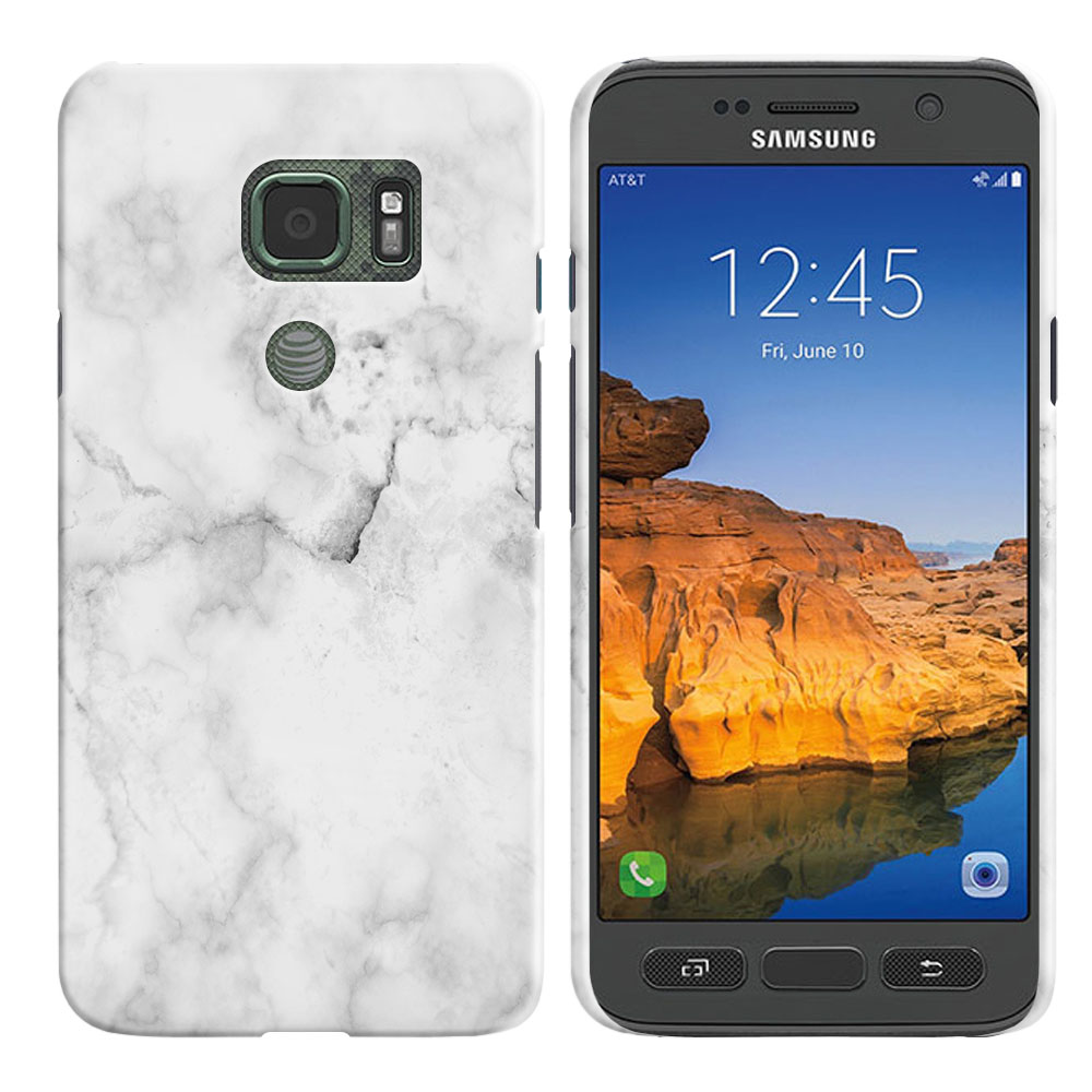 Samsung Galaxy S7 Active G891 Grey Cloudy Marble Back Cover Case