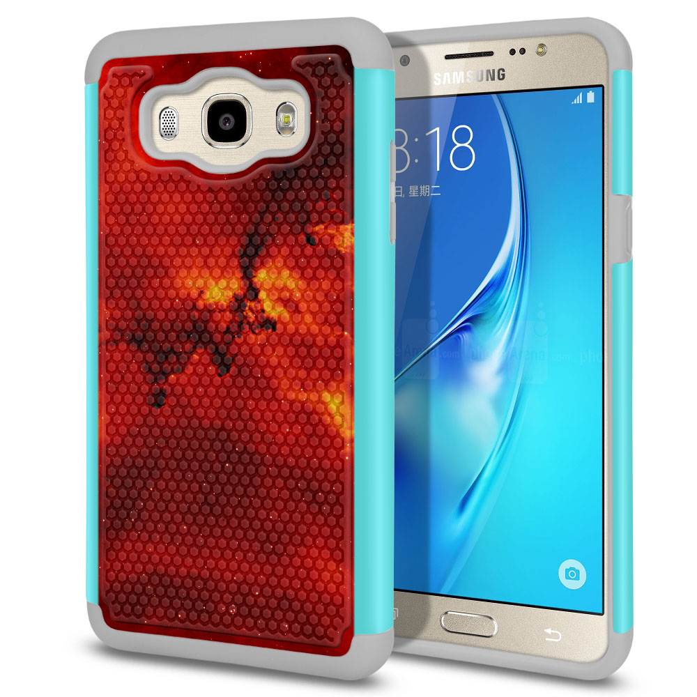 Samsung Galaxy J7 J710 2nd Gen 2016 Hybrid Football Skin Fiery Galaxy Protector Cover Case